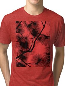 Desert flora, abstract pattern, floral design, black and red Tri-blend T-Shirt