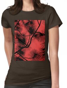Desert flora, abstract pattern, floral design, black and red Womens Fitted T-Shirt