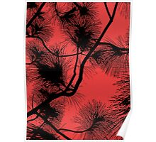Desert flora, abstract pattern, floral design, black and red Poster