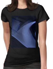 Blue waves, line art, curves, abstract pattern Womens Fitted T-Shirt
