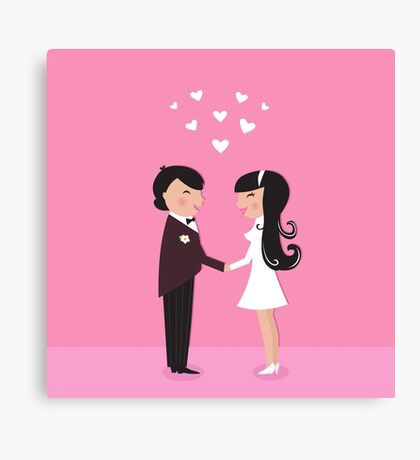 Wedding couple - bride and groom, isolated on pink Canvas Print