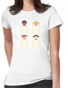Four cute children with blank banners Womens Fitted T-Shirt