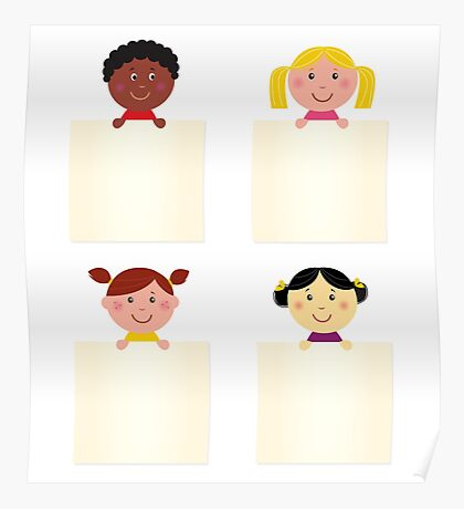 Four cute children with blank banners Poster