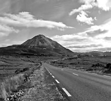 black and white road to the Errigal mountains Ireland by morrbyte