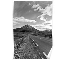 black and white road to the Errigal mountains Ireland Poster