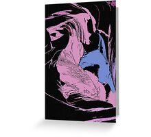 Blue Shark, at pink sea, abstract, cartoon artwork Greeting Card