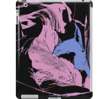 Blue Shark, at pink sea, abstract, cartoon artwork iPad Case/Skin