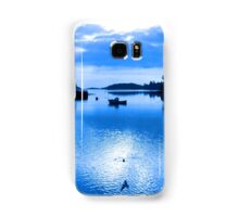 blue toned silhouette of boat and birds at sunset Samsung Galaxy Case/Skin