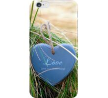 blue wooden love heart on beach iPhone Case/Skin