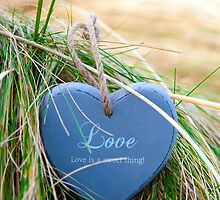 blue wooden love heart on beach by morrbyte