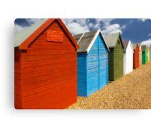 Multi-coloured beach Huts Canvas Print
