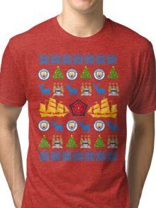 Manchester City 8-bit Holiday Sweater Tri-blend T-Shirt