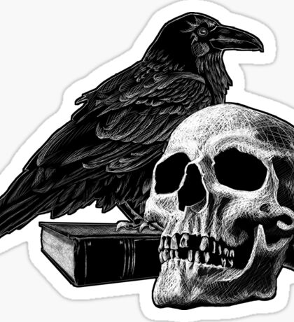 Quoth the Raven with Skull Sticker
