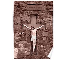 crusifix of jesus on wood cross Poster