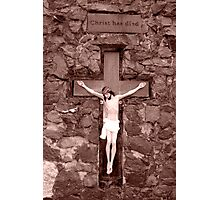 crusifix of jesus on wood cross Photographic Print
