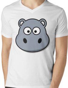Funny Hippo Mens V-Neck T-Shirt