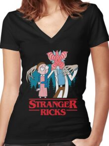 Stranger Ricks Women's Fitted V-Neck T-Shirt
