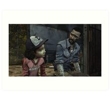 The Walking Dead-Clementine and Lee Art Print