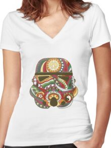 Vintage Psychedelic Storm Mask Women's Fitted V-Neck T-Shirt