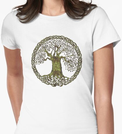 CELTIC KNOT TREE OF LIFE - olive grunge Womens Fitted T-Shirt