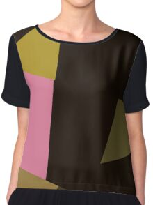 Abstraction #153 Pink Green Black Rectangles Chiffon Top