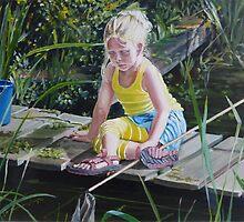 Kikkervisjes vangen - fishing for babyfrogs by CamphuijsenArt