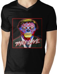 THEY LIVE - Red & Blue Mens V-Neck T-Shirt