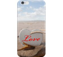 inscribed wooden love heart in the sand iPhone Case/Skin