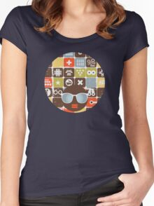 Robots on buttons Women's Fitted Scoop T-Shirt