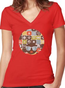 Robots on buttons Women's Fitted V-Neck T-Shirt