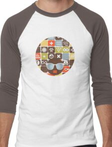 Robots on buttons Men's Baseball ¾ T-Shirt