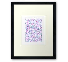 Abstract Geometric 3D Triangle Pattern in Blue  Pink Framed Print