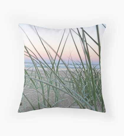 Lennox Head grassy hill with sunset backdrop Throw Pillow