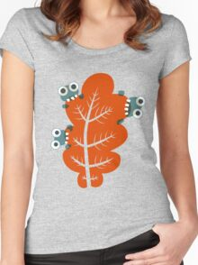 Cute Bugs Eating Autumn Leaves Women's Fitted Scoop T-Shirt