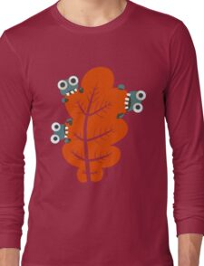Cute Bugs Eating Autumn Leaves Long Sleeve T-Shirt