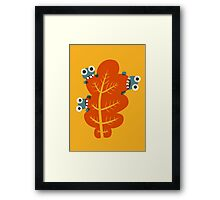 Cute Bugs Eating Autumn Leaves Framed Print