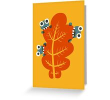 Cute Bugs Eating Autumn Leaves Greeting Card