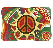 Vintage Psychedelic Flaming Peace Photographic Print