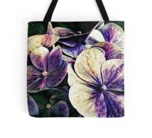 Hortensia flowers in vintage grunge watercoloring style Tote Bag