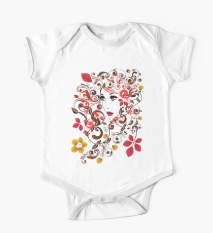 Autumn Girl with Floral 8 One Piece - Short Sleeve
