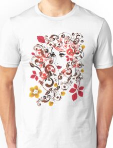 Autumn Girl with Floral 8 Unisex T-Shirt