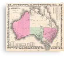 Vintage Map of Australia (1862) Canvas Print