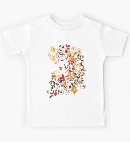 Autumn Girl with Floral 9 Kids Tee