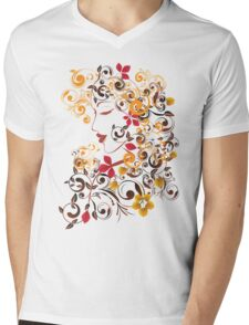 Autumn Girl with Floral 9 Mens V-Neck T-Shirt