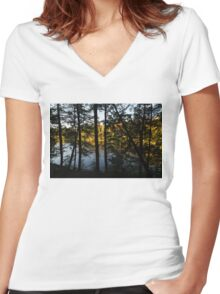 Trough the Pine Screen - Hidden Lake in an Autumn Forest Women's Fitted V-Neck T-Shirt