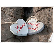 love on the rocks wooden hearts Poster