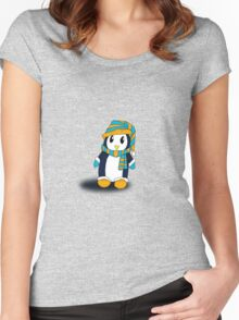 Mr. Penguin likes snow Women's Fitted Scoop T-Shirt