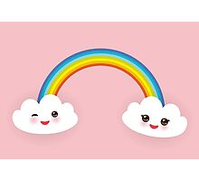 Rainbow and smiling clouds on pink Photographic Print
