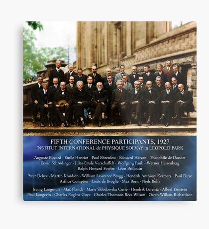 1927 Solvay Conference (LISA wave bg), posters, prints Metal Print