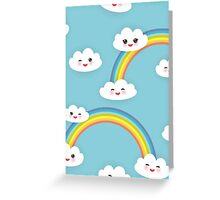 Happy rainbow and clouds Greeting Card